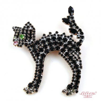 LILIEN(リリアン)Standing Black Cat Brooch
