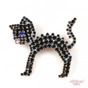 LILIEN(リリアン)Standing Black Kitty Brooch