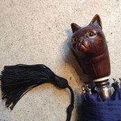 Guy de Jean(ギドゥジャン)折りたたみ傘 猫 Navy