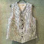 suzuki takayuki wait coat� (スズキタカユキ ウェストコート�) Nude Stripe/Men's