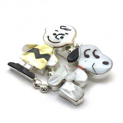 Paula Leekity Brooch Pendant top Snoopy and Charlie Brown(ポーラ リーキティ ブローチ・ペンダントトップ スヌーピー&チャーリー・ブラウン)