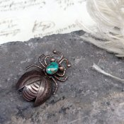 Vintage Silver×Turquoise Bag Brooch(ヴィンテージ シルバー×ターコイズ バグ ブローチ)