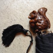 Guy de Jean (ギドゥジャン) 折りたたみ傘 リス Black