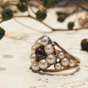 Georgian Pearl Garnet Antique Ring (ジョージアン パール ガーネット アンティークリング)