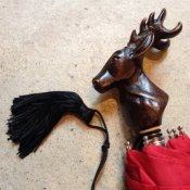 Guy de Jean (ギドゥジャン) 折りたたみ傘 シカ Red