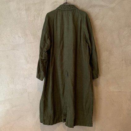 VINCENT JALBERT Coat Lace Collar -Vintage Linen-  (ヴィンセント ジャルベール レースカラーコート ) Khaki