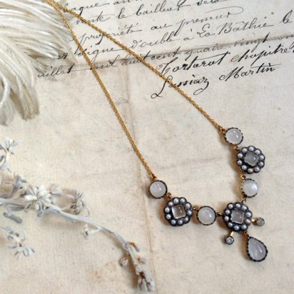 Victorian 18K Vermeil Moonstone×Pearl×Diamond Necklace(ヴィクトリアン 18K ヴェルメイユ ムーンストーン×パール×ダイヤモンド ネックレス)