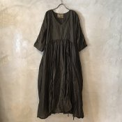 VINCENT JALBERT Parachute Dress L/S w/Belt  (ヴィンセント ジャルベール パラシュート ドレス ) Brown