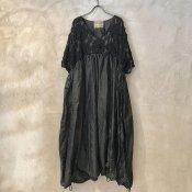VINCENT JALBERT Parachute Lace Dress L/S  (ヴィンセント ジャルベール パラシュート レースドレス ) Charcoal