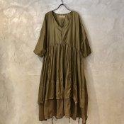 VINCENT JALBERT Parachute  Dress L/S w/Belt (ヴィンセント ジャルベール パラシュート ドレス ) Khaki