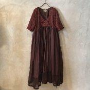 VINCENT JALBERT Parachute Lace Dress L/S  (ヴィンセント ジャルベール パラシュート レースドレス ) Red