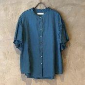 ikkuna/suzuki takayuki flared-sleeve blouse(イクナ/スズキタカユキ フレアードスリーブブラウス) Turquoise Blue