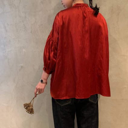 suzuki takayuki puff-sleeve blouse (スズキタカユキ パフスリーブブラウス ) Red