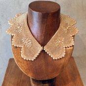 1950's Pearl Beads Collar Flower Cut(1950年代 パールビーズ つけ襟 フラワーカット)