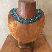 1960~70's France Blue Glass Beads Collar(1960~70年代 フランス ブルー ガラスビーズ つけ襟)