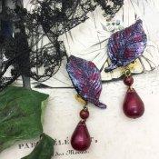60's Irena Leaf Earrings Red (60年代 イリーナ リーフ イヤリング レッド)