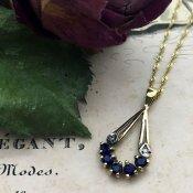 9K Diamond Sapphire Antique Necklace(9K ダイヤモンド サファイア アンティーク ネックレス)