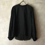 suzuki takayuki bouffant-sleeve blouse (スズキタカユキ ブッファンスリーブブラウス ) Black