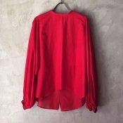 suzuki takayuki bouffant-sleeve blouse (スズキタカユキ ブッファンスリーブブラウス ) Red