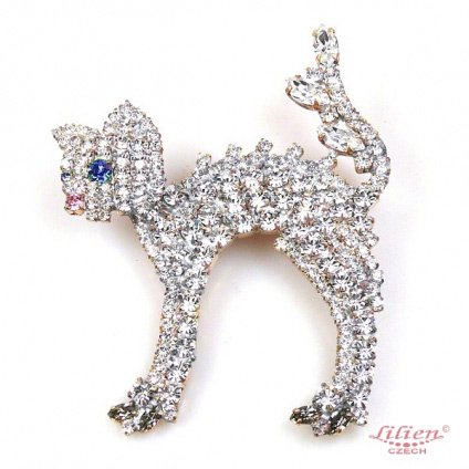 LILIEN(リリアン)Standing White Cat Brooch