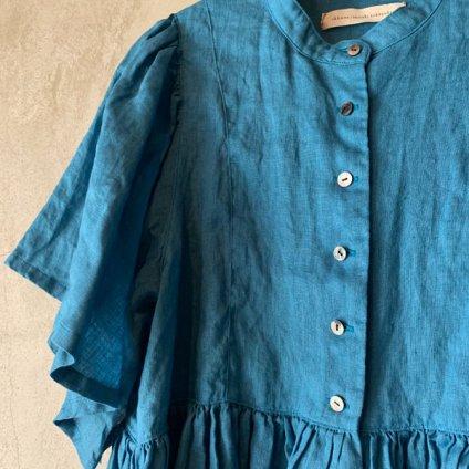 ikkuna/suzuki takayuki ruffled blouse (イクナ/スズキタカユキ ラッフルド ブラウス)Turquoise Blue