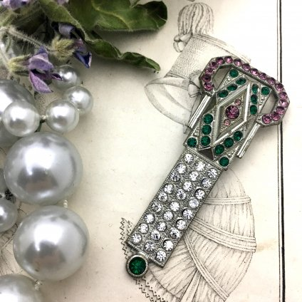 Art Deco Paste Glass Brooch・Dress Clip (アールデコ ペーストガラス ブローチ・ドレスクリップ)
