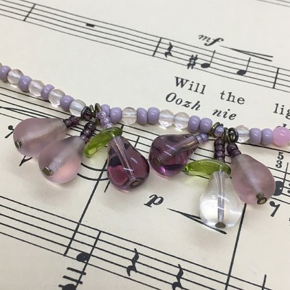 1930's Glass Pink Fruit Necklace(1930年代 ガラス ピンクフルーツネックレス)