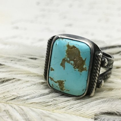 Navajo Sprit Shank Square Turquoise Ring(ナバホ スプリットシャンク スクエア ターコイズリング)