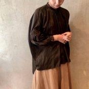 suzuki takayuki puff-sleeve blouse (スズキタカユキ パフスリーブ ブラウス)Dark brown