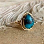 Navajo 14K×Bisbee Turquoise Ring (ナバホ 14K×ターコイズリング)