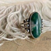 Vintage Navajo Split Shank Green Turquoise Ring (ナバホ グリーンターコイズ リング)
