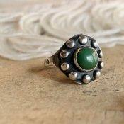 Navajo Tourist Silver×Green Turquoise Ring (ナバホ ツーリスト シルバー×グリーンターコイズ リング)