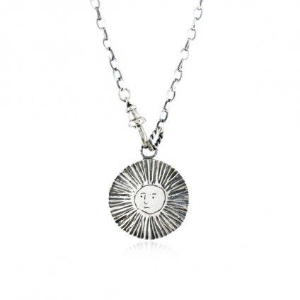 momocreatura Large Moon&Sun Disc Lariet Necklace Oxidised Silver(モモクリアチュラ 月&太陽ラリエット 燻しシルバー)
