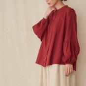 【限定品】ikkuna/suzuki takayuki gathered-sleeve blouse(イクナ/スズキタカユキ ギャザードスリーブブラウス)Bordeaux