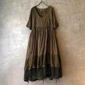 VINCENT JALBERT Parachute Dress L/S w/Belt(ヴィンセント ジャルベール パラシュートドレス ベルト付)Khaki