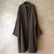 VINCENT JALBERT Harris Tweed Coat washed Fly Front(ヴィンセント ジャルベール  ハリスツイード比翼コート)Khaki