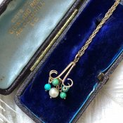 1920's Art Deco 9K Pearl×Turquoise Necklace(1920's アールデコ 9K パール×ターコイズネックレス)
