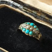Victorian Turquoise Pearl Antique Ring (ヴィクトリアン ターコイズ パール アンティークリング)