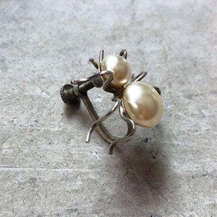 1920〜30's Silver Glass Pearl Spider Brooch&Earrings(1920〜30年代 シルバー ガラスパール 蜘蛛ブローチ&イヤリング)