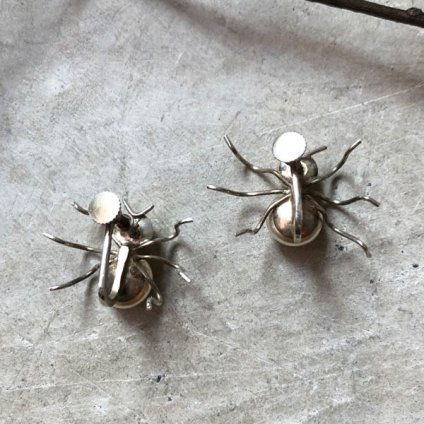 1920〜30's Silver Glass Pearl Spider Brooch&Earrings(1920〜30年代 シルバー ガラスパール 蜘蛛ブローチ&イヤリング)