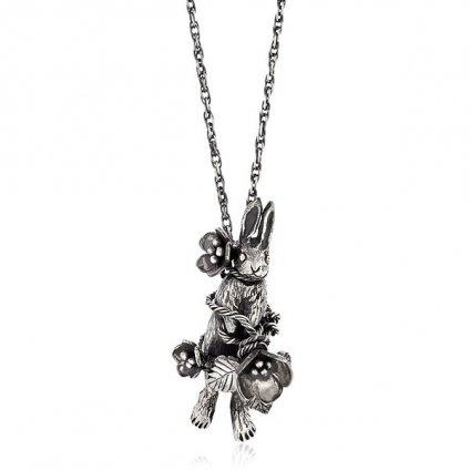 Flower Rabbit Necklace Silver(モモクリアチュラ フラワー 花 うさぎ ネックレス )45cm+15cm