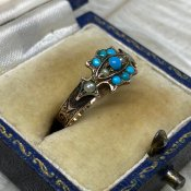 Victorian 15K/Turquoise/Seed Pearl Antique Ring(ヴィクトリアン 15K/ターコイズ シードパール  アンティークリング)
