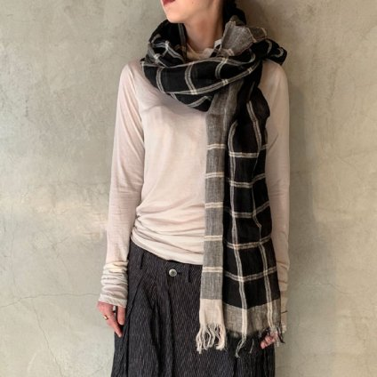 suzuki takayuki linen shawl(スズキタカユキ リネンショール)Black