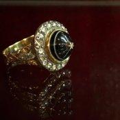Victorian 18K/Banded Agate/Diamond Antique Ring(ヴィクトリアン 18K バンデッドアゲート/ダイヤモンド アンティークリング)