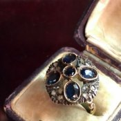 Victorian Gold/Saphire/Diamond Antique Ring(ヴィクトリアン ゴールド/サファイア/ダイヤモンド アンティークリング)