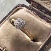 Edwardian 18K Diamond Cluster Ring(エドワーディアン 18K ダイヤモンド アンティークリング)