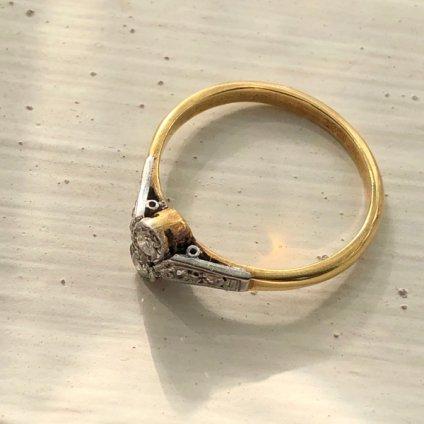 Edwardian 18K Diamond Ring(エドワーディアン 18K ダイヤモンド トワエモア アンティークリング)