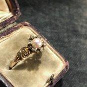 Victorian 9K Pearl/Diamond Antique Ring(ヴィクトリアン 9K パール/ダイヤモンド アンティークリング)