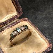 c.1863 22K Emerald/Pearl Antique Ring(1863年 22K エメラルド/パール アンティークリング)