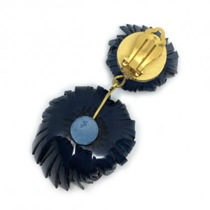 Cilea PARIS Blue Gray Flower Swing Earrings(シレアパリ ブルーグレー フラワー スイングイヤリング)